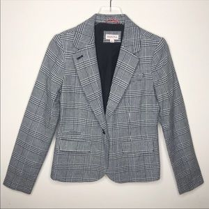 Merona Slim Houndstooth Plaid Monochrome Blazer
